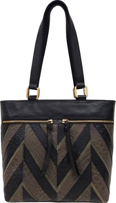 Great American Leatherworks Chevron Patchwork Tote Black Neutral/Black - Great American Leatherworks Leather Handbags