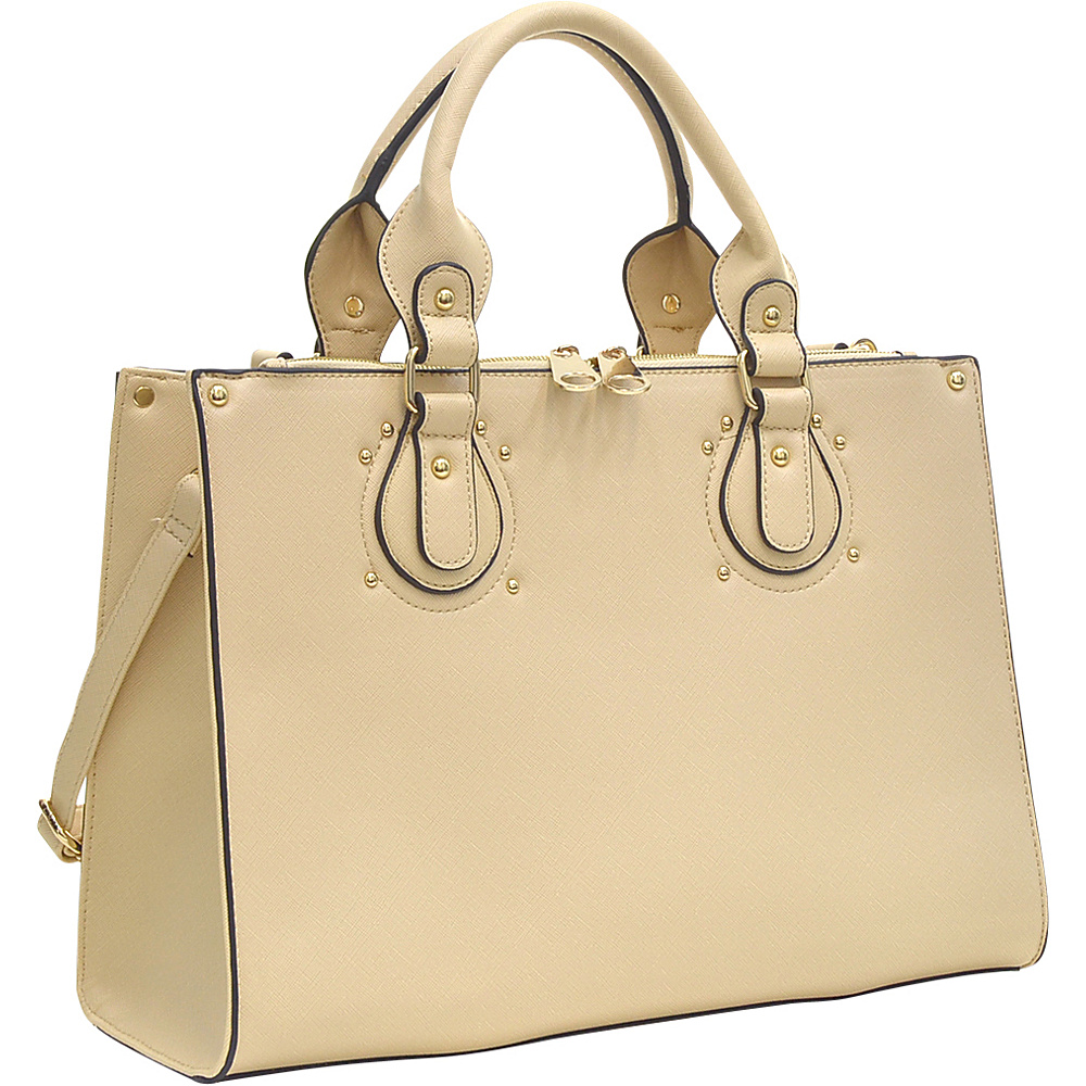Dasein Lock Satchel with Adjustable Shoulder Strap Beige - Dasein Manmade Handbags - Handbags, Manmade Handbags