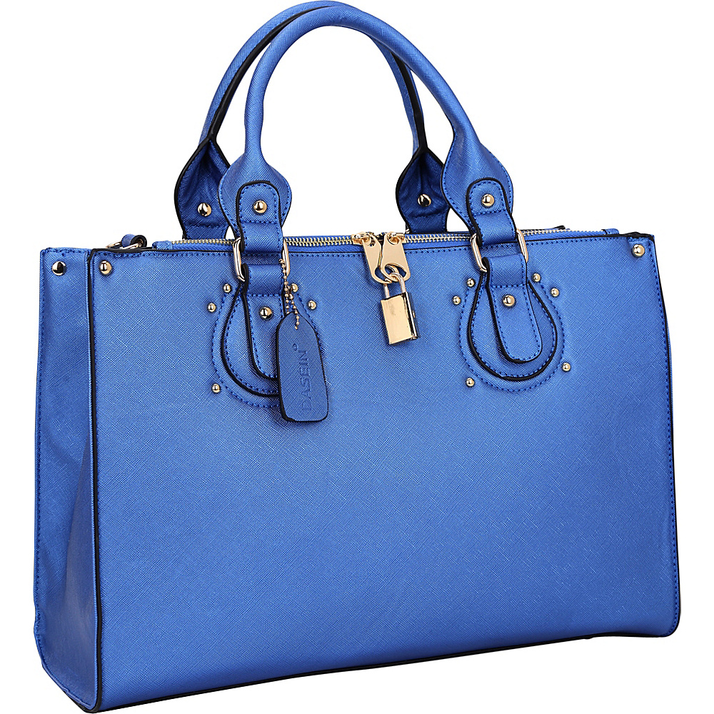 Dasein Lock Satchel with Adjustable Shoulder Strap Blue - Dasein Manmade Handbags - Handbags, Manmade Handbags