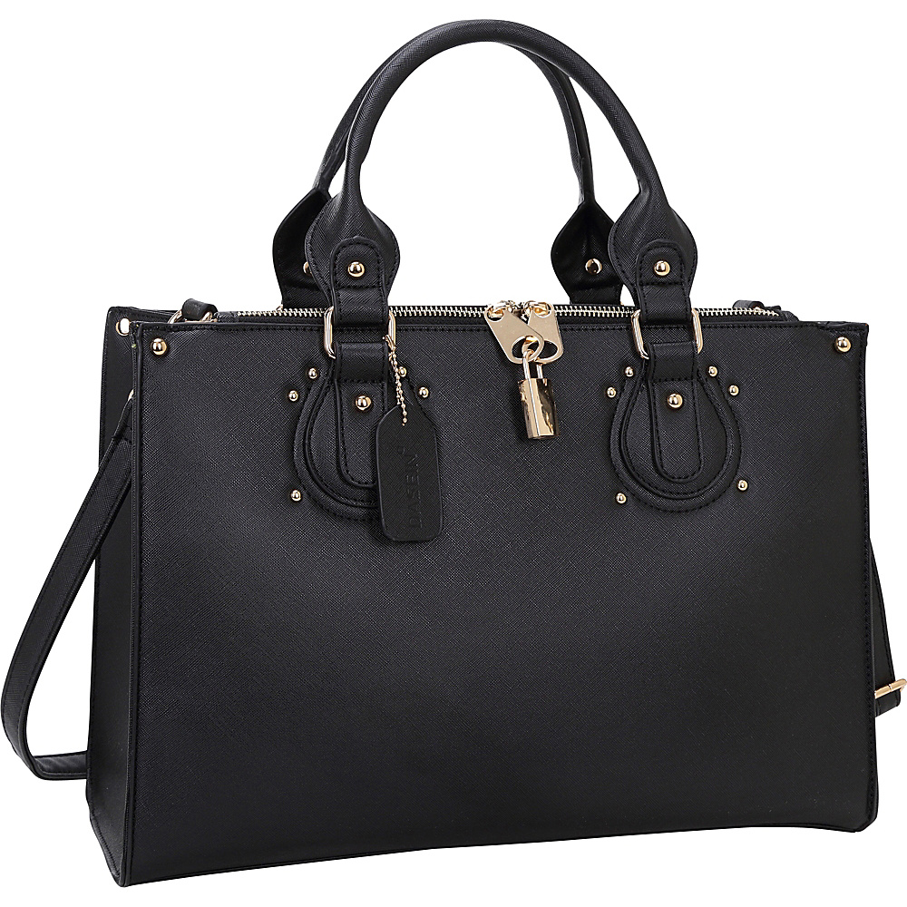 Dasein Lock Satchel with Adjustable Shoulder Strap Black - Dasein Manmade Handbags - Handbags, Manmade Handbags