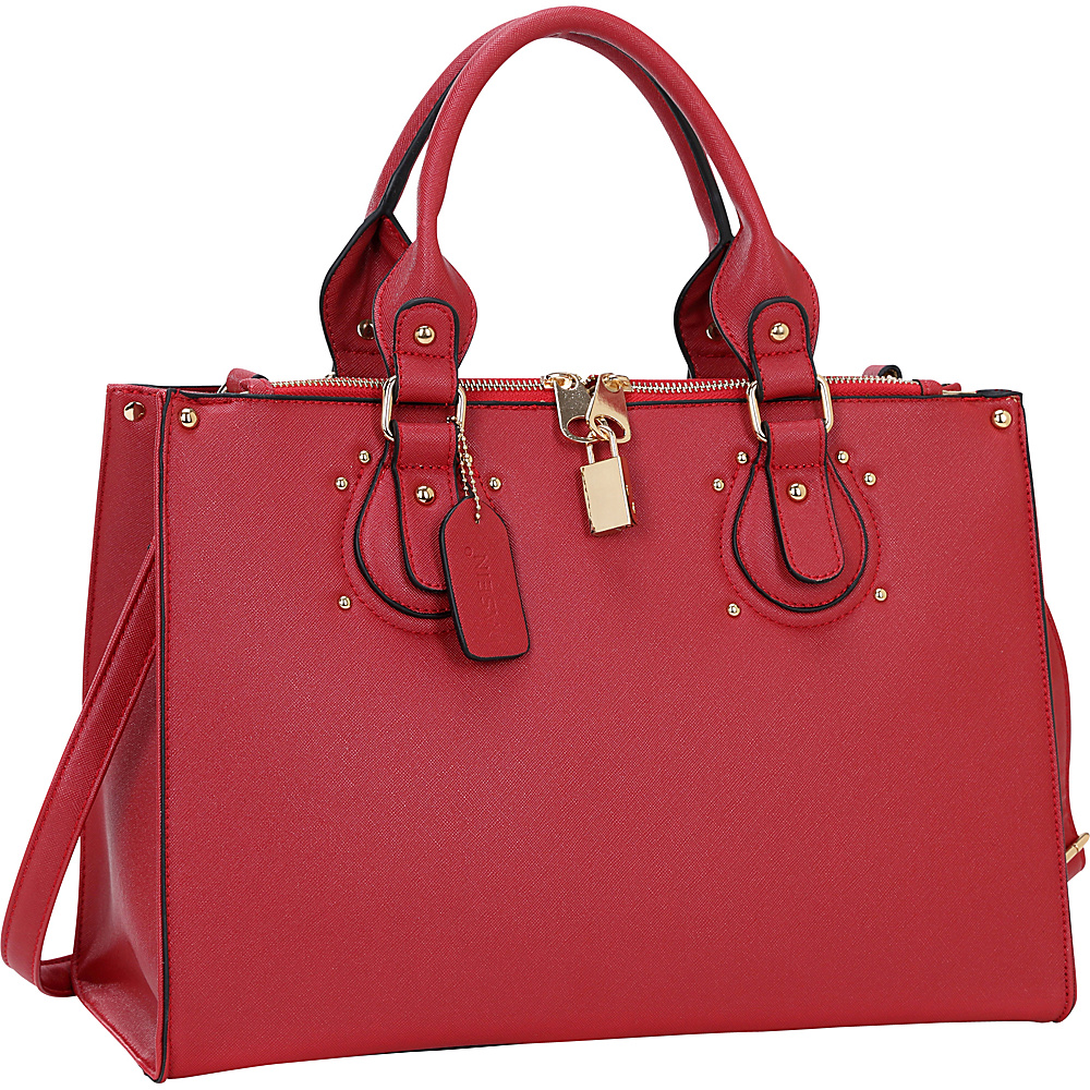 Dasein Lock Satchel with Adjustable Shoulder Strap Red - Dasein Manmade Handbags - Handbags, Manmade Handbags