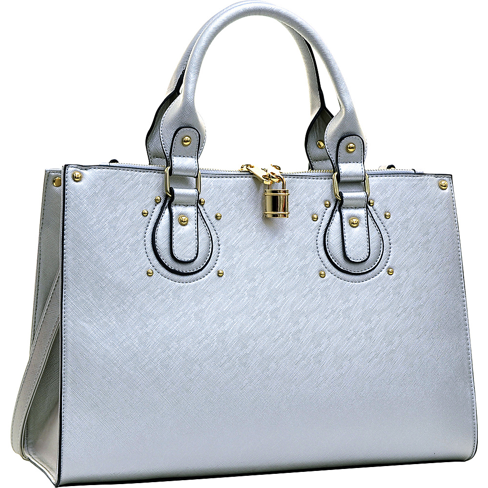 Dasein Lock Satchel with Adjustable Shoulder Strap Silver - Dasein Manmade Handbags - Handbags, Manmade Handbags