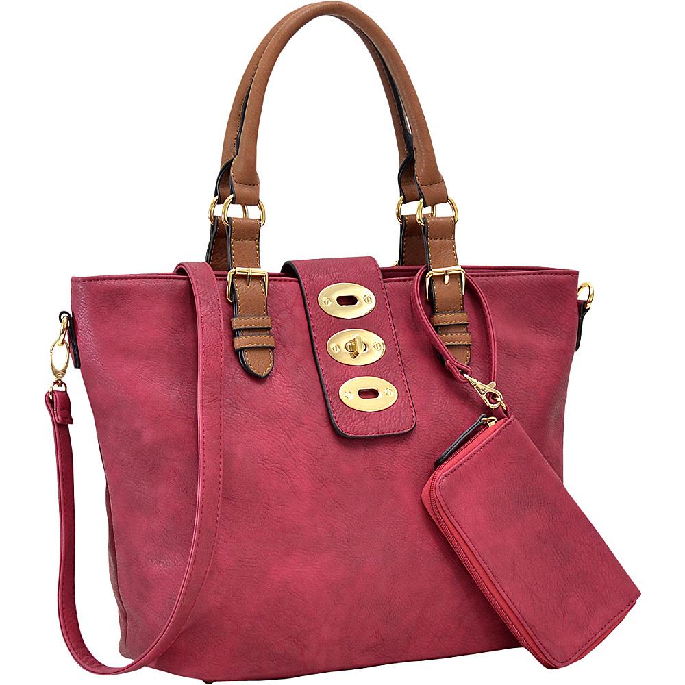 Dasein Work Tote with Adjustable Twist Lock and Matching Wristlet Burgundy - Dasein Manmade Handbags - Handbags, Manmade Handbags