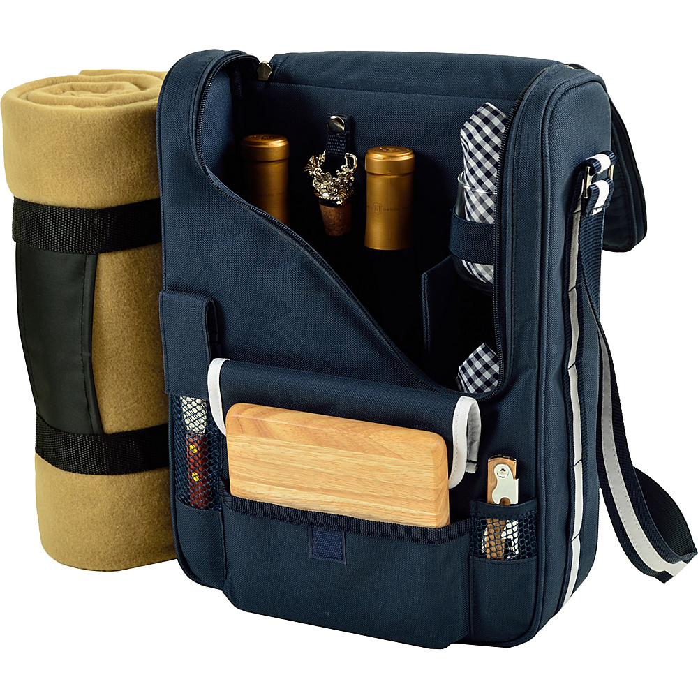 Picnic at Ascot Bordeaux Wine & Cheese Cooler Bag with Wine Glasses & Blanket Navy/White - Picnic at Ascot Outdoor Accessories - Outdoor, Outdoor Accessories