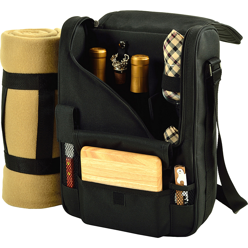 Picnic at Ascot Bordeaux Wine & Cheese Cooler Bag with Wine Glasses & Blanket Black/Plaid - Picnic at Ascot Outdoor Accessories - Outdoor, Outdoor Accessories