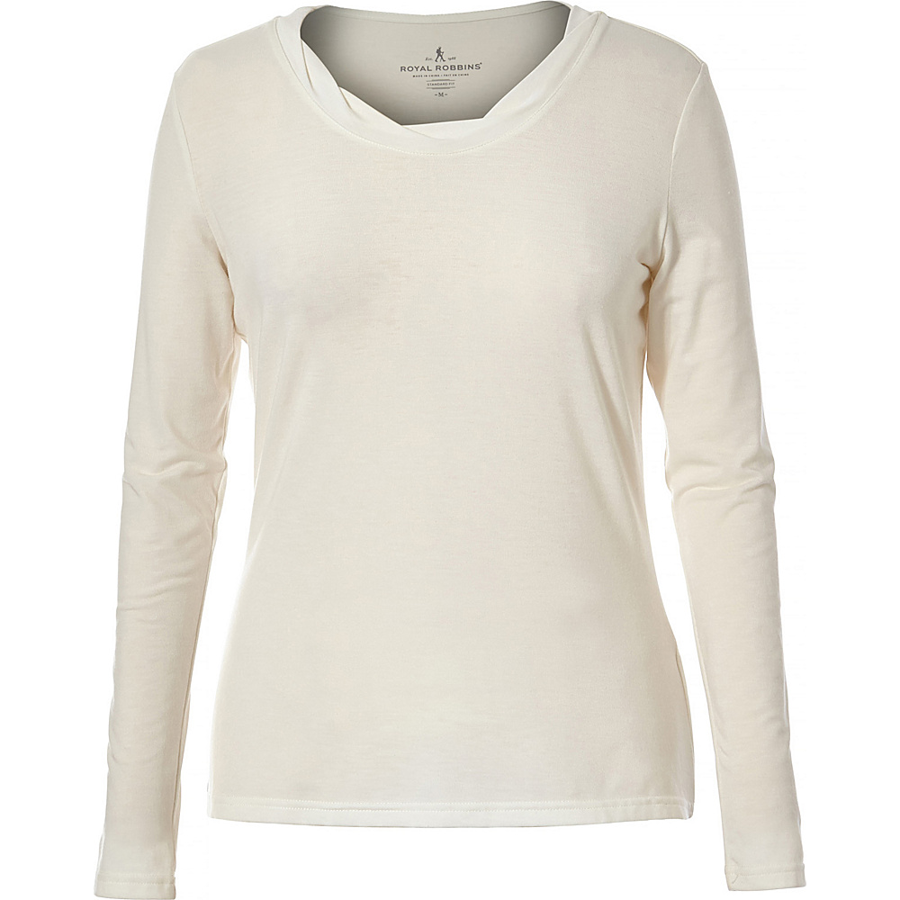 Royal Robbins Womens Essential Tencel Twist V Long Sleeve XL - Creme - Royal Robbins Womens Apparel - Apparel & Footwear, Women's Apparel