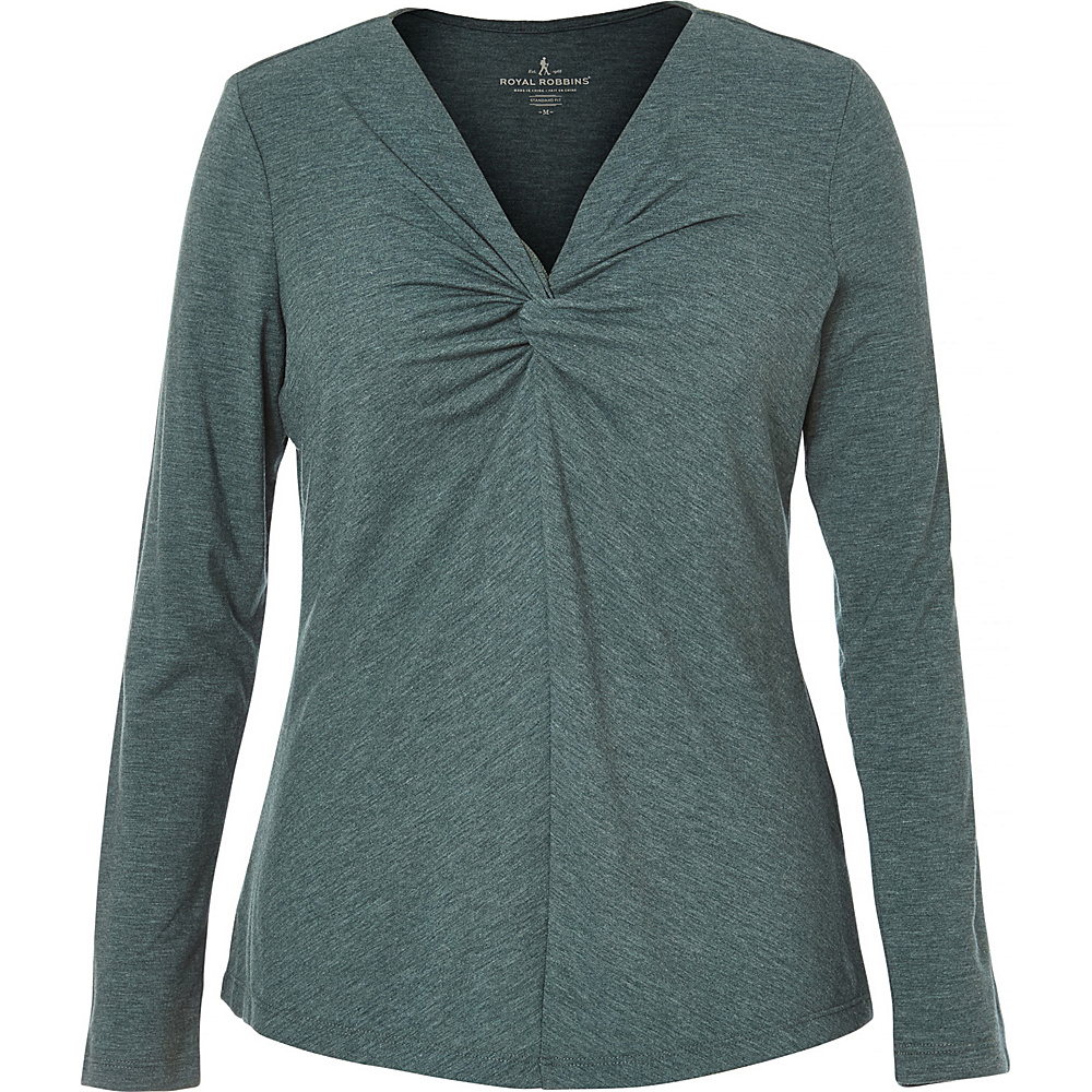 Royal Robbins Womens Essential Tencel Twist V Long Sleeve L - Green Gables - Royal Robbins Womens Apparel - Apparel & Footwear, Women's Apparel