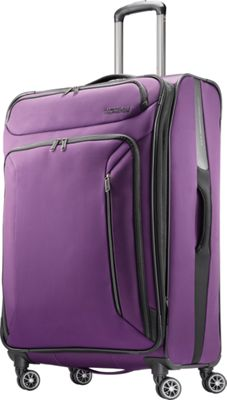 American Tourister Zoom 28 inch Expandable Checked Spinner Luggage Purple - American Tourister Softside Checked