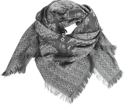 Woolrich Accessories Char and Ash Tapestry Square Scarf Dark Gull Grey Heather - Woolrich Accessories Hats/Gloves/Scarves
