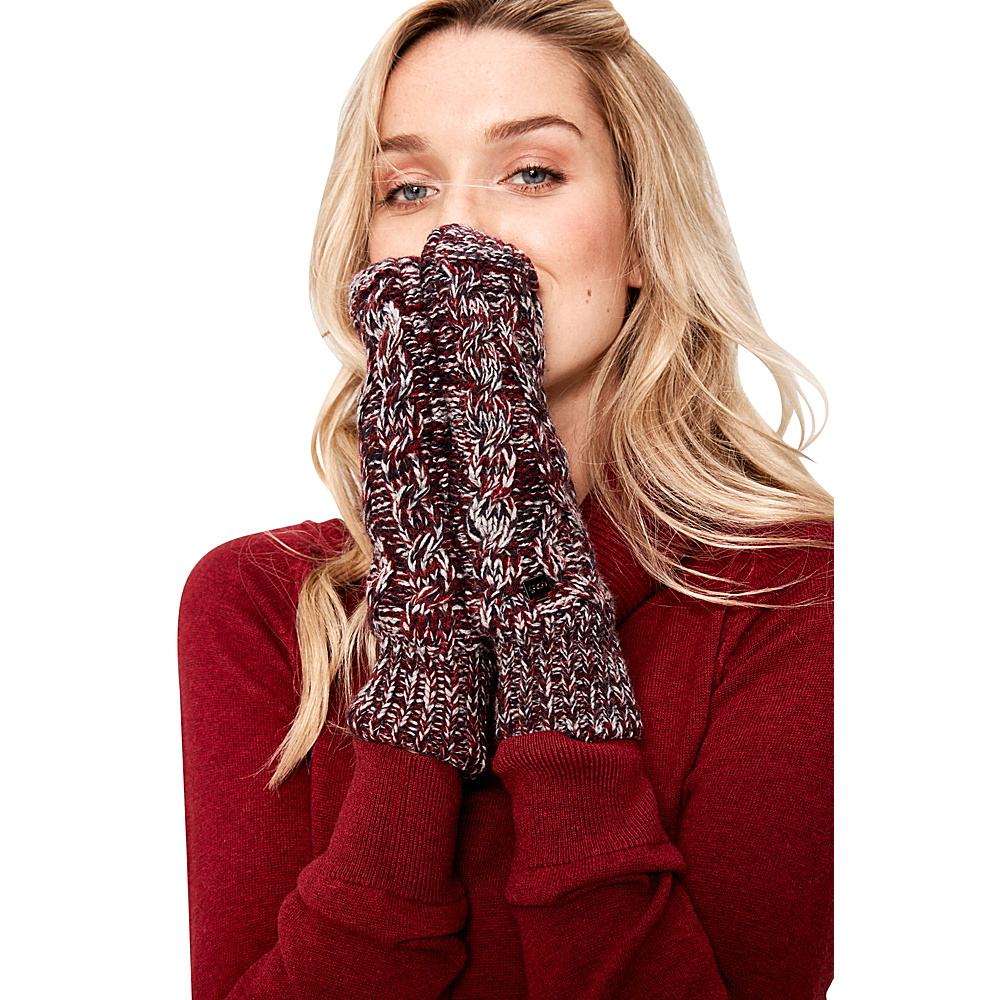 Lole Cable Knit Mittens One Size - Dark Berry - Lole Hats/Gloves/Scarves - Fashion Accessories, Hats/Gloves/Scarves