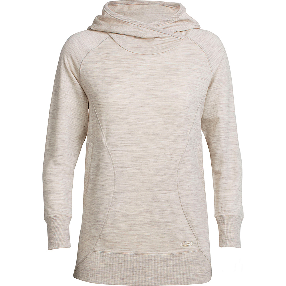 Icebreaker Womens Dia Pullover Hoody M - Fawn Heather - Icebreaker Womens Apparel - Apparel & Footwear, Women's Apparel