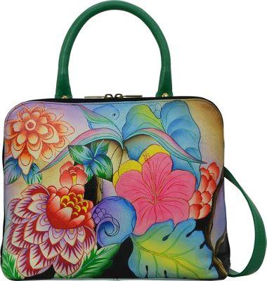 ANNA by Anuschka Hand Painted Slim Crossbody Satchel Whimsical Garden - ANNA by Anuschka Leather Handbags