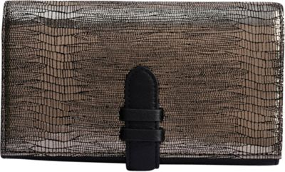 Phive Rivers Embossed Multi-Compartment Leather Clutch Wallet Black - Phive Rivers Women's Wallets