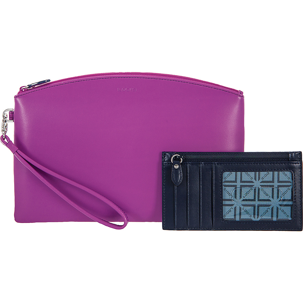 Lodis Audrey RFID Miley Wristlet With Removable ID Wallet Orchid/Navy - Lodis Womens Wallets - Women's SLG, Women's Wallets