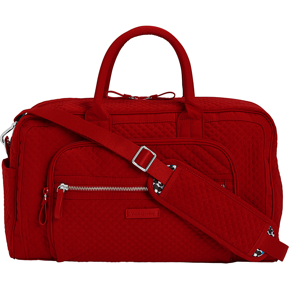 Vera Bradley Iconic Compact Weekender Travel Bag - Solids Cardinal Red - Vera Bradley Travel Duffels - Duffels, Travel Duffels
