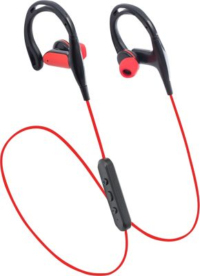 LAX Gadgets Sweatproof In-Ear Bluetooth Headphones with SecureHooks and Mic Red - LAX Gadgets Headphones & Speakers