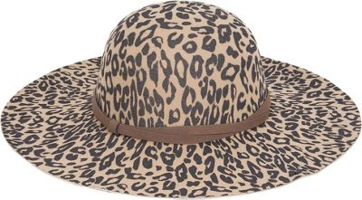 Image of Adora Hats Animal Print Wool Felt Floppy Hat One Size - Brown - Adora Hats Hats/Gloves/Scarves