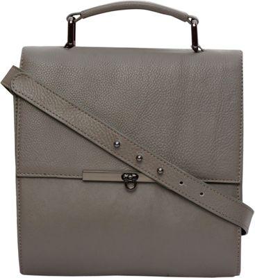 Phive Rivers Twist Lock Flapover Crossbody Grey - Phive Rivers Leather Handbags