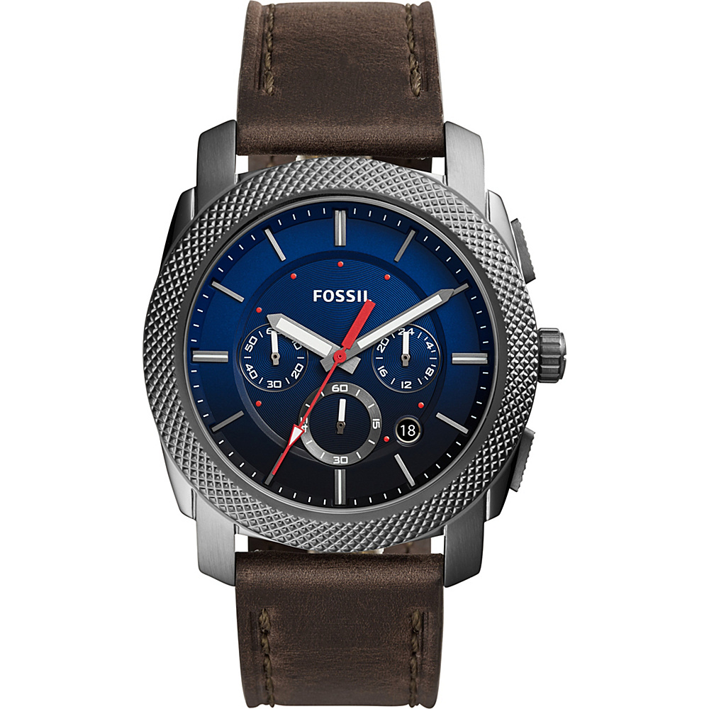 Fossil Machine Chronograph Leather Watch Grey - Fossil Watches - Fashion Accessories, Watches
