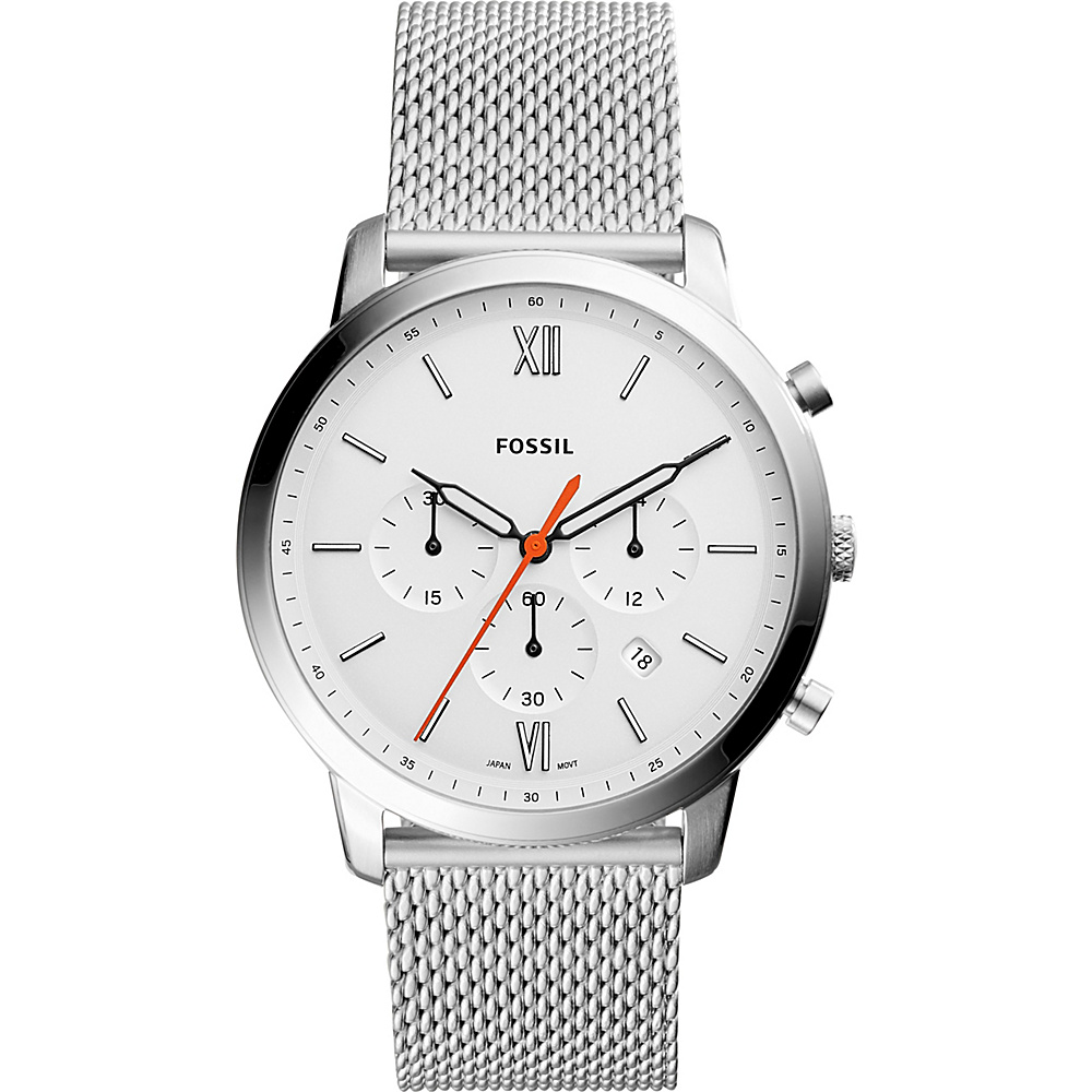 Fossil Neutra Chronograph Stainless Steel Leather Watch Silver - Fossil Watches - Fashion Accessories, Watches
