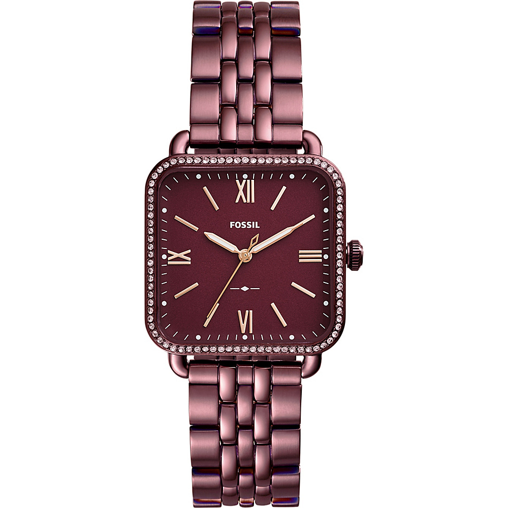 Fossil Micah Three-Hand Stainless Steel Watch Red - Fossil Watches - Fashion Accessories, Watches