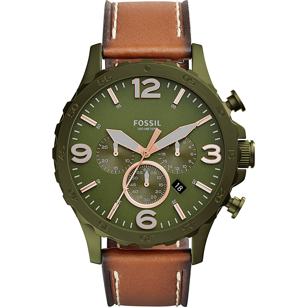 Fossil Nate 50mm Chronograph Leather Watch Brown - Fossil Watches - Fashion Accessories, Watches