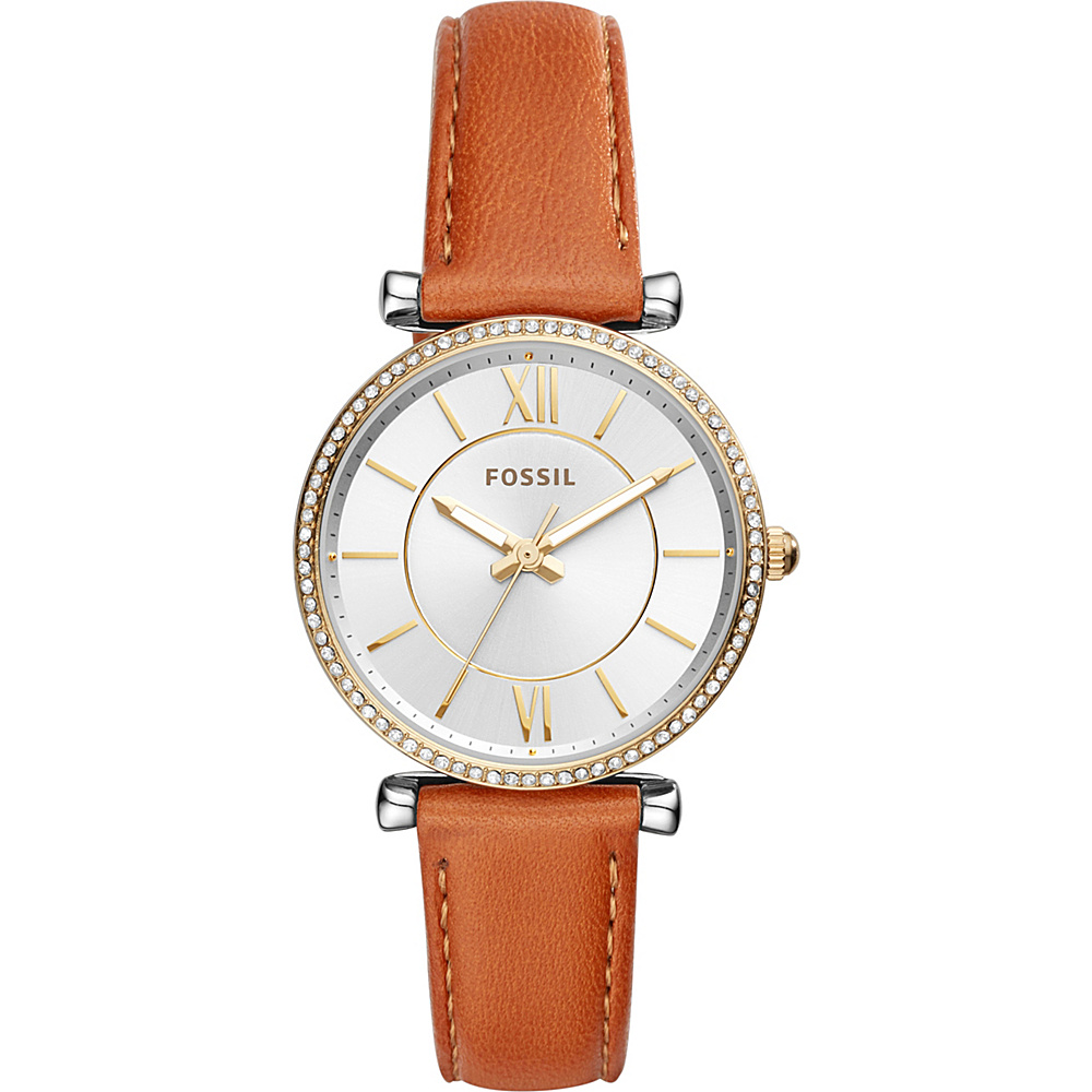 Fossil Carlie Three-Hand Leather Watch Silver - Fossil Watches - Fashion Accessories, Watches