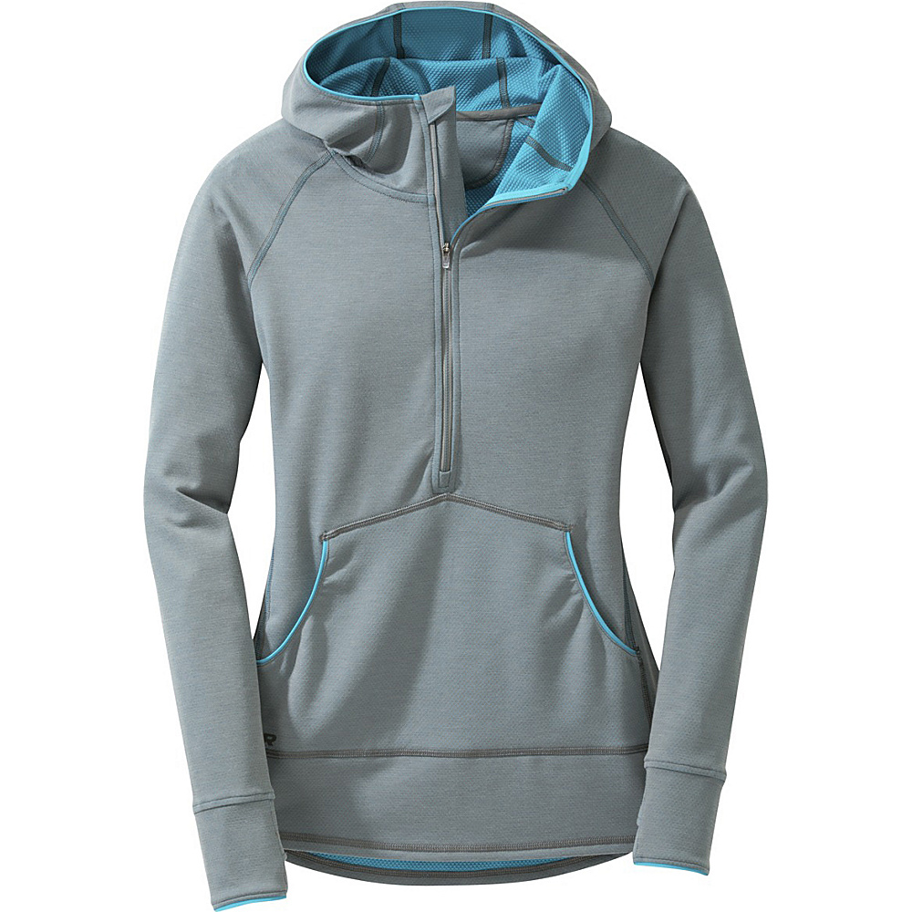Outdoor Research Womens Shiftup Zip-Top Exercise Hoody L - Pewter/Typhoon - Outdoor Research Womens Apparel - Apparel & Footwear, Women's Apparel