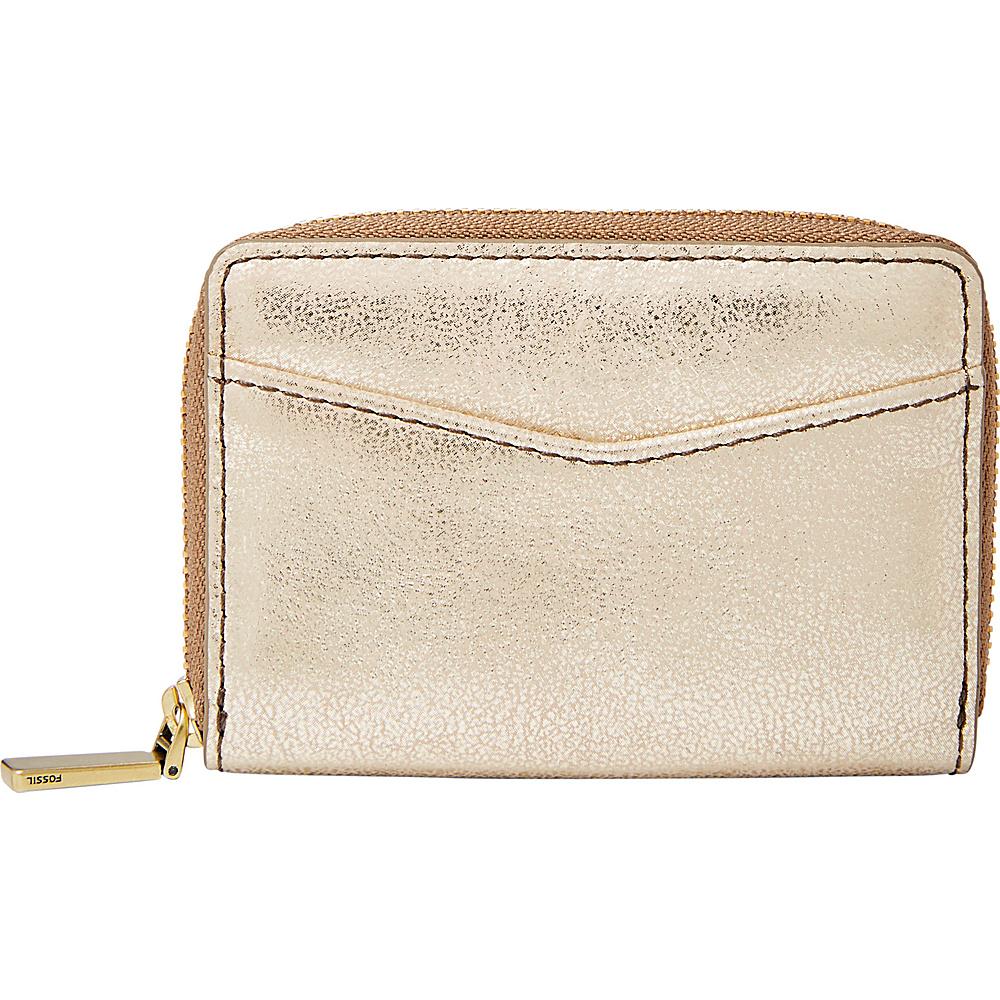 Fossil RFID Mini Zip Card Case Gold - Fossil Womens Wallets - Women's SLG, Women's Wallets