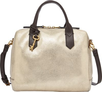 Fossil Fiona Satchel Pale Gold Metallic - Fossil Leather Handbags