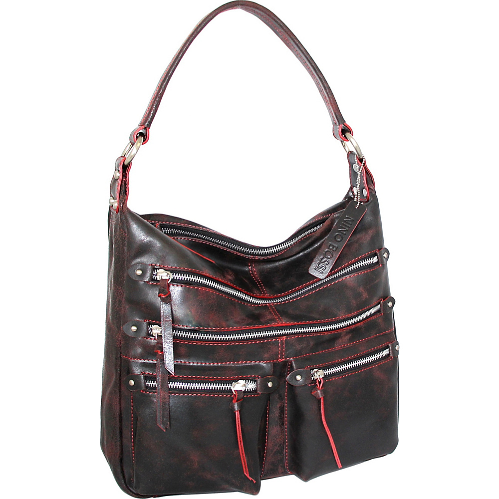 Nino Bossi Heather Shoulder Bag Black/Red - Nino Bossi Leather Handbags - Handbags, Leather Handbags