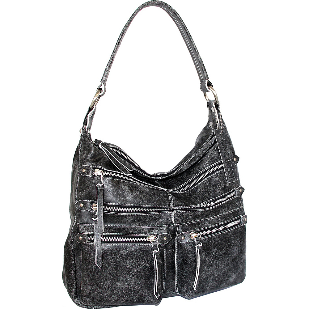 Nino Bossi Heather Shoulder Bag Black/White - Nino Bossi Leather Handbags - Handbags, Leather Handbags