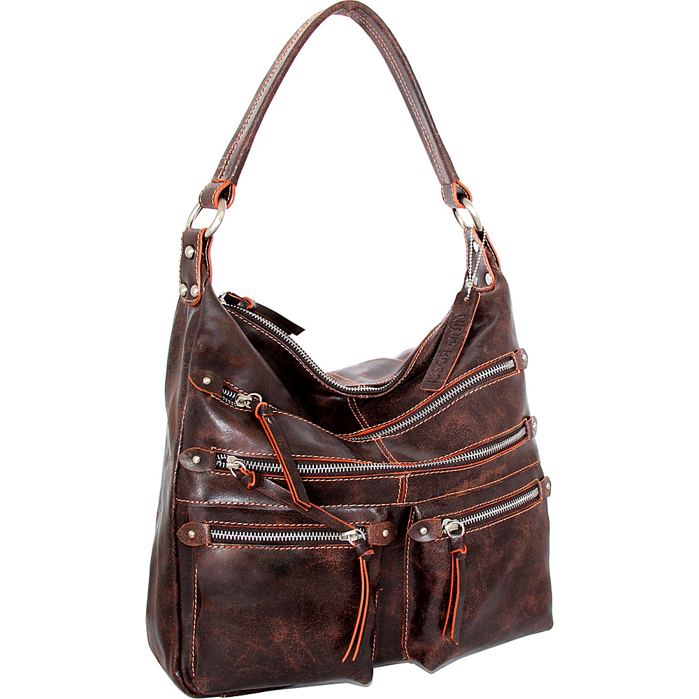 Nino Bossi Heather Shoulder Bag Chocolate/Orange - Nino Bossi Leather Handbags - Handbags, Leather Handbags