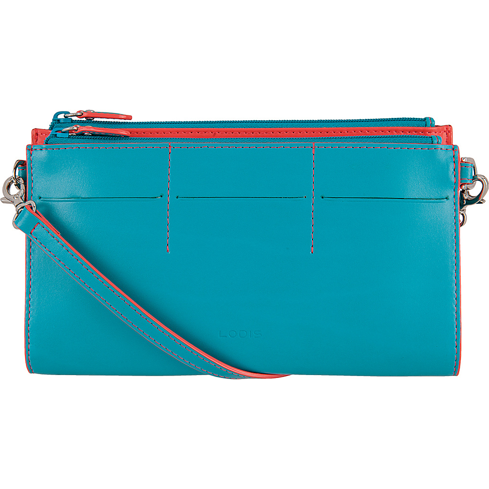 Lodis Audrey Fairen Clutch Crossbody - Discontinued Colors Turquoise/Coral - Lodis Leather Handbags - Handbags, Leather Handbags