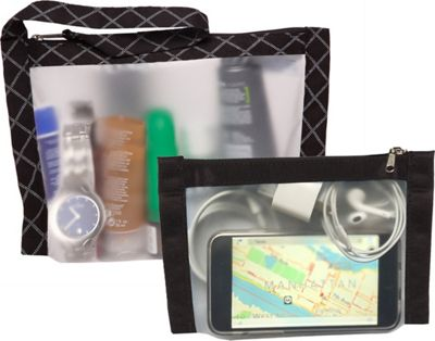 Flanabags TSA Travel Duo - Approved Clear Carry-on Quart Size 2 Bag Set Black - Flanabags Travel Organizers