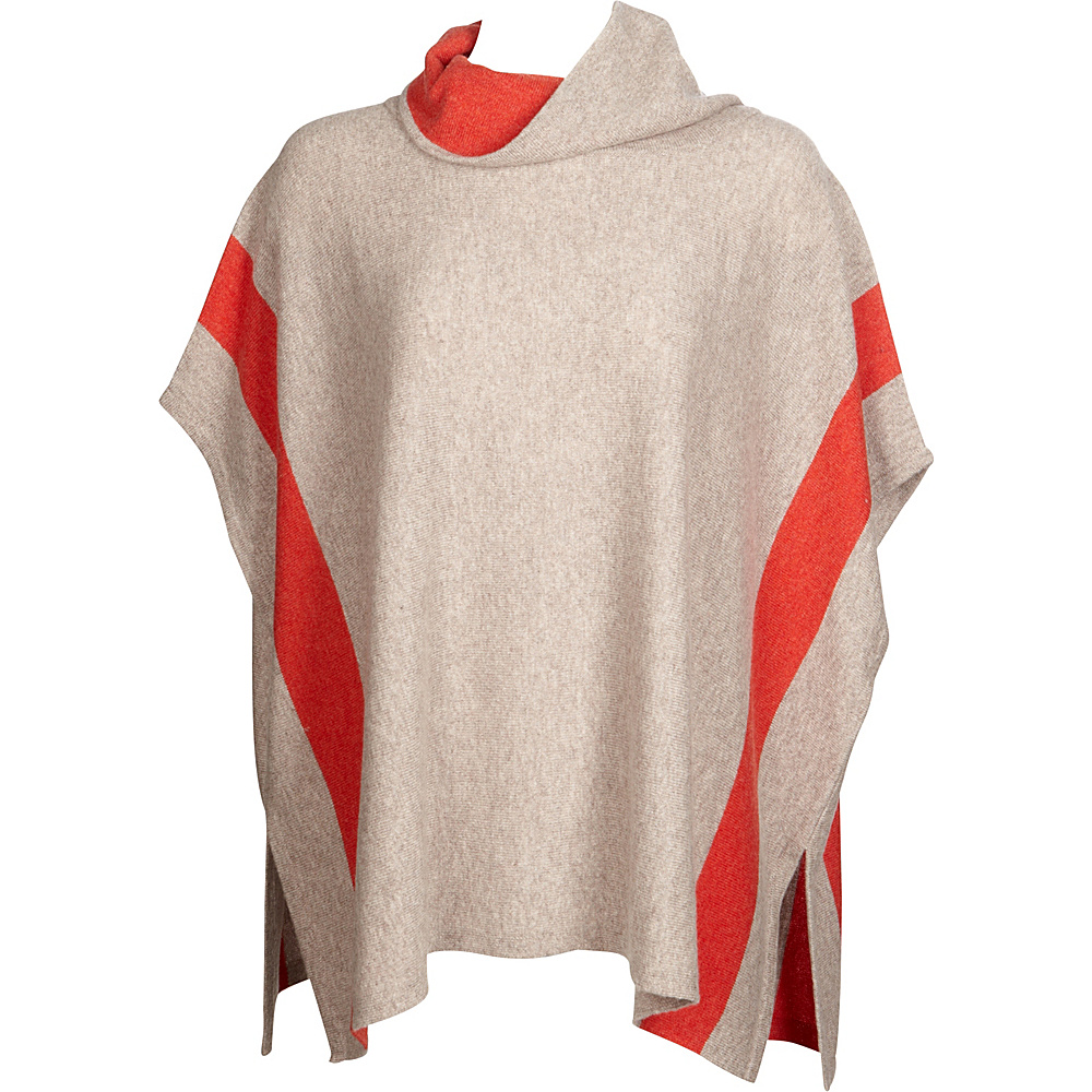 Kinross Cashmere Contrast Cowl Poncho One Size  - Antler/Sunset - Kinross Cashmere Womens Apparel - Apparel & Footwear, Women's Apparel