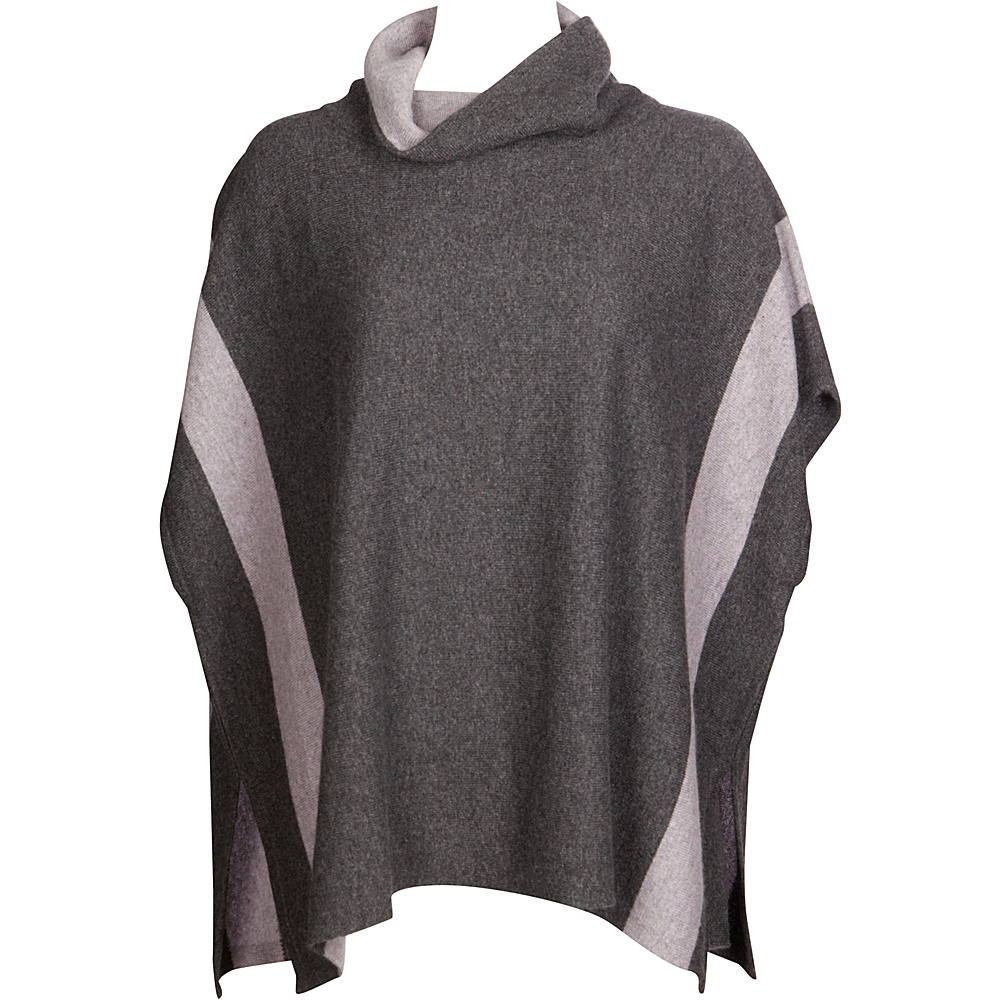 Kinross Cashmere Contrast Cowl Poncho One Size  - Charcoal/Thistle - Kinross Cashmere Womens Apparel - Apparel & Footwear, Women's Apparel