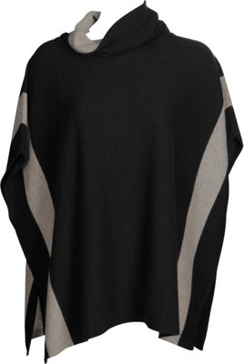 Kinross Cashmere Contrast Cowl Poncho One Size  - Black/Antler - Kinross Cashmere Women's Apparel