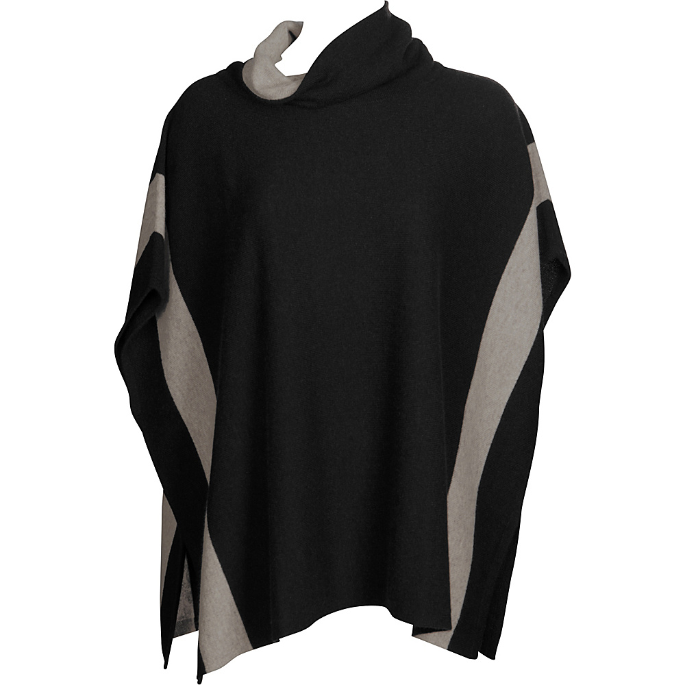 Kinross Cashmere Contrast Cowl Poncho One Size  - Black/Antler - Kinross Cashmere Womens Apparel - Apparel & Footwear, Women's Apparel