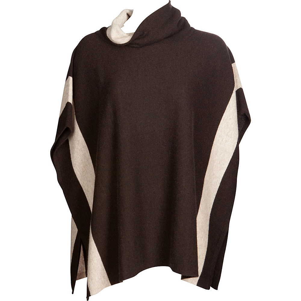 Kinross Cashmere Contrast Cowl Poncho One Size  - Teak/Fawn - Kinross Cashmere Womens Apparel - Apparel & Footwear, Women's Apparel