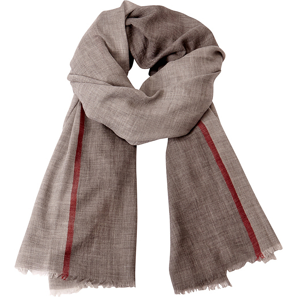 Kinross Cashmere Colorblock Stripe Scarf Charcoal Multi - Kinross Cashmere Hats/Gloves/Scarves - Fashion Accessories, Hats/Gloves/Scarves