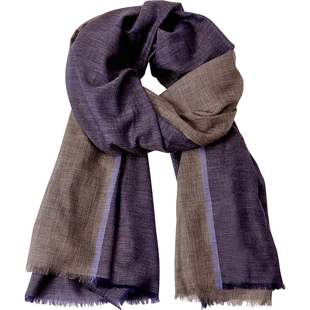Kinross Cashmere Colorblock Stripe Scarf Dusk Multi - Kinross Cashmere Hats/Gloves/Scarves - Fashion Accessories, Hats/Gloves/Scarves