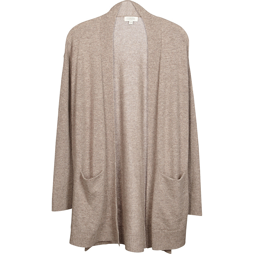 Kinross Cashmere High Split Rib Trim Cardigan XS - Antler - Kinross Cashmere Womens Apparel - Apparel & Footwear, Women's Apparel