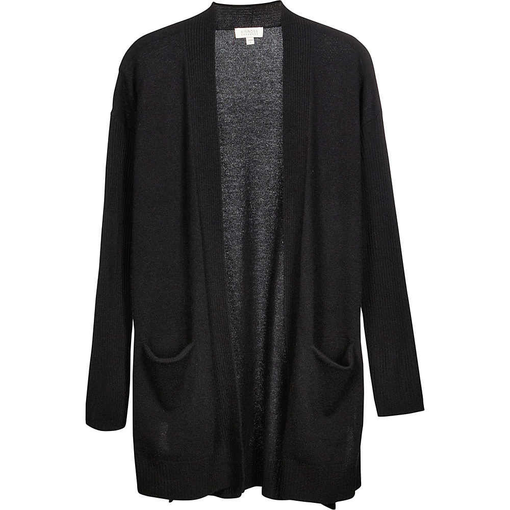 Kinross Cashmere High Split Rib Trim Cardigan XS - Black - Kinross Cashmere Womens Apparel - Apparel & Footwear, Women's Apparel