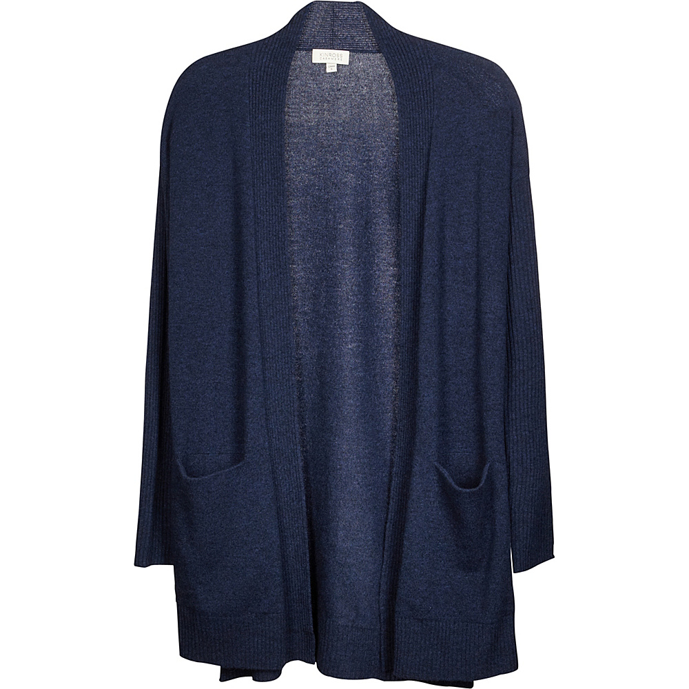 Kinross Cashmere High Split Rib Trim Cardigan XS - Dusk - Kinross Cashmere Womens Apparel - Apparel & Footwear, Women's Apparel