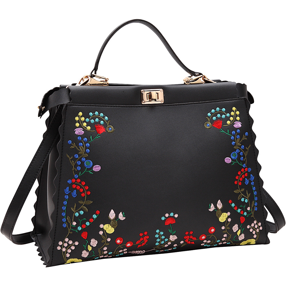Dasein Embroidered Double Twist Lock Hobo Black - Dasein Manmade Handbags - Handbags, Manmade Handbags