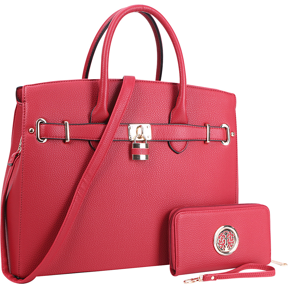 Dasein Faux Leather Satchel with Matching Wallet Red - Dasein Manmade Handbags - Handbags, Manmade Handbags