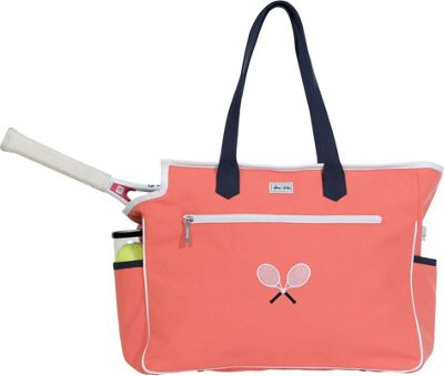 Ame & Lulu Kensington Crossed Racquet Court Bag Coral/ Navy - Ame & Lulu Racquet Bags
