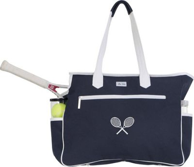 Ame & Lulu Kensington Crossed Racquet Court Bag Navy/White - Ame & Lulu Racquet Bags