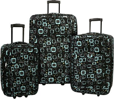 Elite Luggage Print 3 Piece Expandable Rolling Luggage Set Retro Square - Elite Luggage Luggage Sets